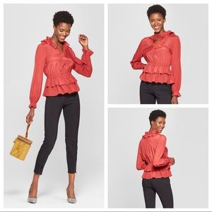 🤩NWT Who What Where Rust Red Tiered Ruffle Blouse